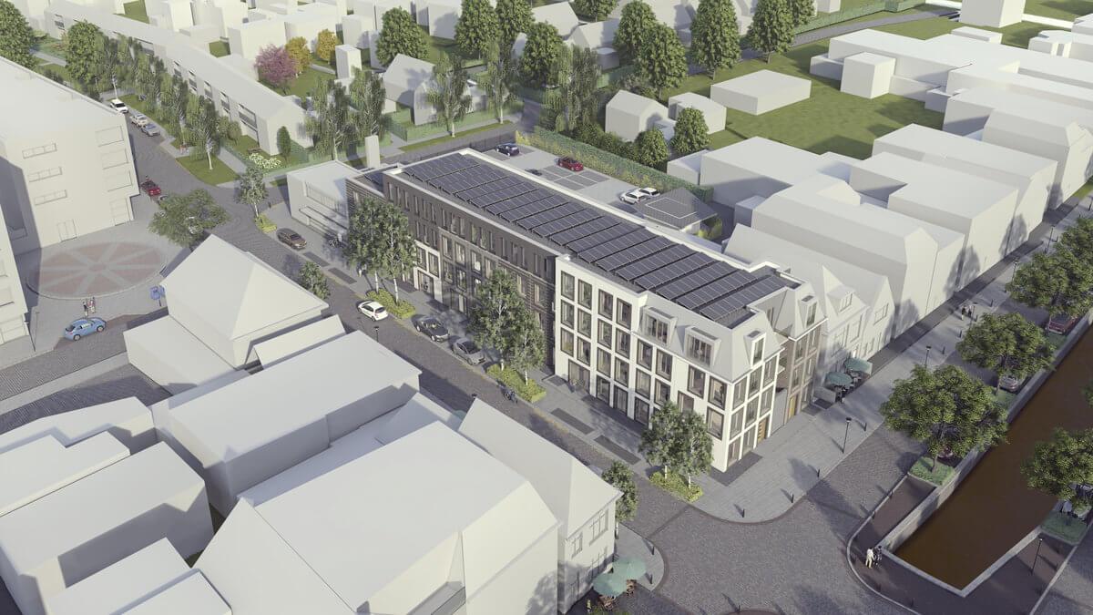 Luchtfoto appartementen Nieuwstraat Heereveen